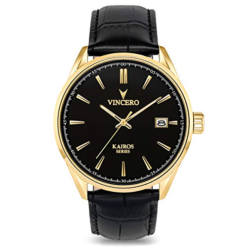Vincero Men's Kairos Luxury Watch 42mm Quartz Movement Black/Gold