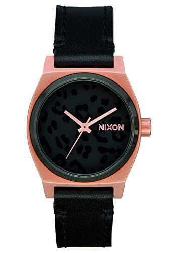 NIXON Medium Time Teller Leather A1172 - Rose Gold/Black/Cheetah -...