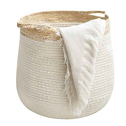 Rope Basket Woven Storage Basket - Laundry Basket Large 17.3x 15 x...