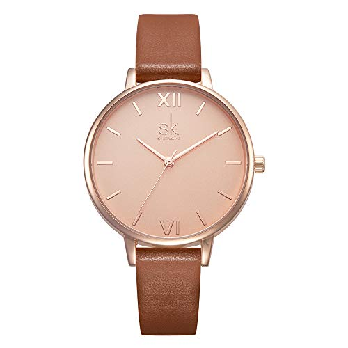 SHENGKE Women Watches Leather Band Luxury Quartz Watches Girls Ladies...