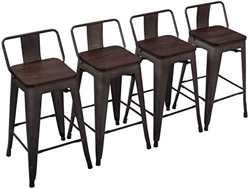 Yongchuang Metal Barstools Industrial Counter Height Bar Stools Set of...