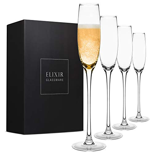 Crystal Champagne Flutes – Elegant Champagne Glasses, Hand Blown –...