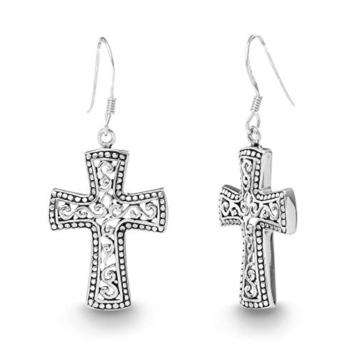 Willowbird Oxidized Sterling Silver Textured Filigree Celtic Cross...