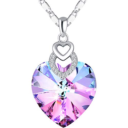 PLATO H Girls Heart Necklace Pink Crystal for Women Pendant Jewelry