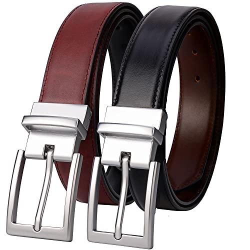 Lavemi Mens Belt Reversible 100% Italian Cow Leather Dress Casual...