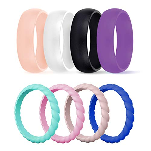 DSZ Silicone Wedding Ring for Women, Mixed Classic & Thin Rubber Band...