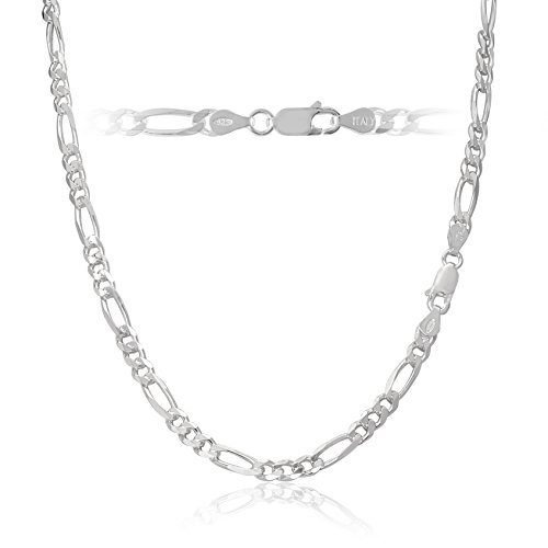 Men's 4.5mm 120 Gauge Figaro Chain Solid .925 Sterling Silver...