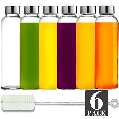 Brieftons Glass Water Bottles: 6 Pack, 18 Oz, Stainless Steel Leak...