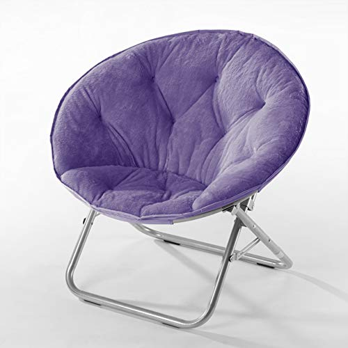 Urban Shop Super Soft Faux Fur Saucer Chair with Folding Metal Frame,...