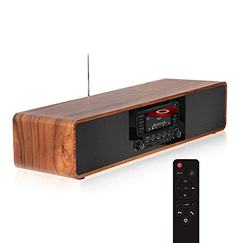 KEiiD CD Player for Home with Bluetooth Stereo System Wooden Desktop...