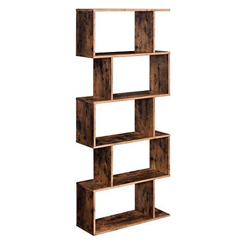 VASAGLE Wooden Bookcase, Display Shelf and Room Divider, Freestanding...