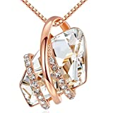 Leafael Wish Stone Pendant Necklace with Crystal White Birthstone...