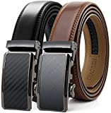 Chaoren Leather Ratchet Slide Belt 2 Pack with Click Buckle 1 1/8' in...