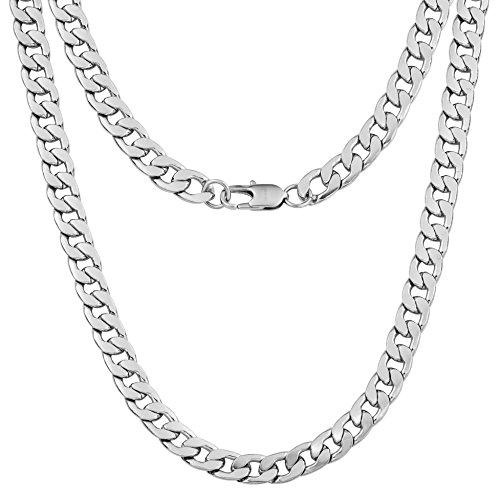 Silvadore 9mm Curb Mens Necklace - Silver Chain Flat Cuban Stainless...