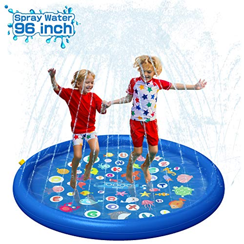 QPAU Inflatable Splash Pad Sprinkler for Kids, Sprays Up to 96 inch,...
