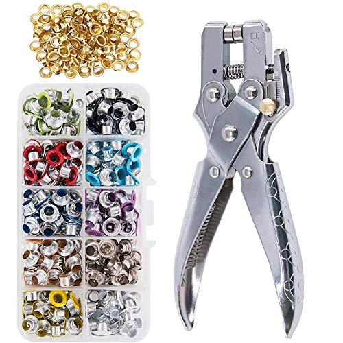 KONIBN 3/16' Eyelet Hole Punch Pliers with 300pcs Multi-Color Eyelets...