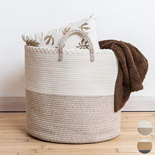 XXL Premium Cotton Rope Basket 18'x18'x16' - Large Baskets for Storage...