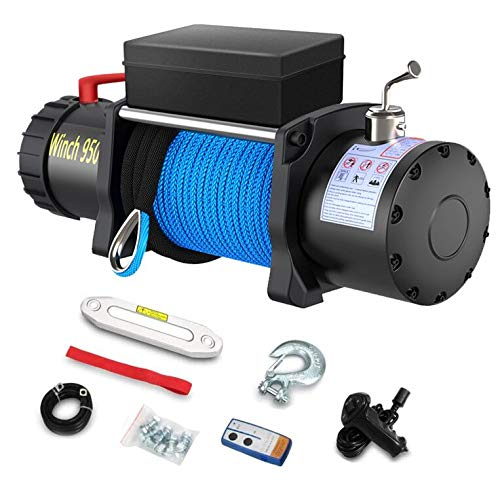 Anbull 12V 9500lb Electric Winch, Synthetic Rope Winch, Waterproof...