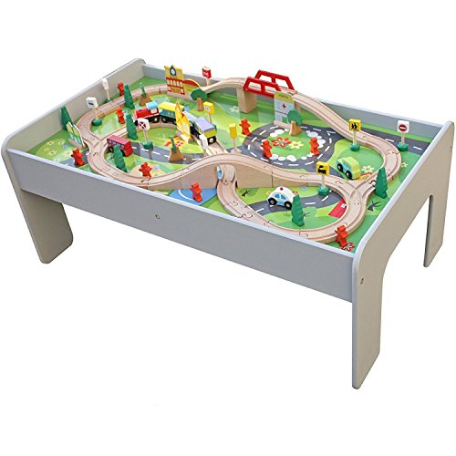 Pidoko Kids Train Table, Grey with 90 Pcs Train Set and Accessories -...
