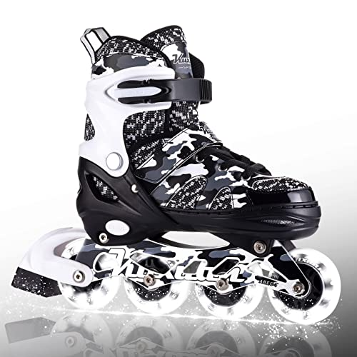 Kuxuan Skates Adjustable Inline Skates for Kids and Youth with Full...