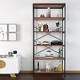 Modrine 5 Shelf Bookcase, Tall Bookshelf Industrial Style Bookshelves...