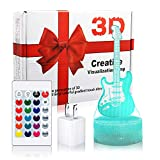 LED Guitar Night Light, Woffice 3D Illusion Touch &Remote Control Desk...