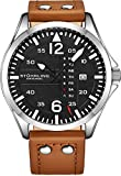Stuhrling Original Mens Leather Watch -Aviation Watch, Quick-Set...