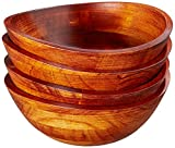 Lipper International Cherry Finished Wavy Rim Serving Bowls for Fruits...