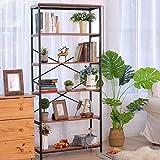 5 Tier Industrial Bookshelf, Tall Bookshelf, Vintage Free Standing...