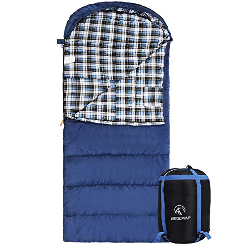 REDCAMP Cotton Flannel Sleeping Bag for Adults, XL 32F Comfortable,...