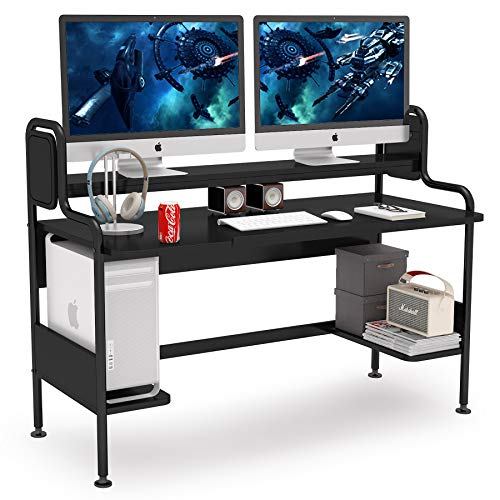Tribesigns Computer Desk with Hutch, 55-Inch Large Gaming Desk with...