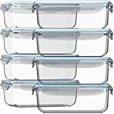 Glass Storage Containers with Lids 30 oz 16 Pc (Set of 8) Glass Food...