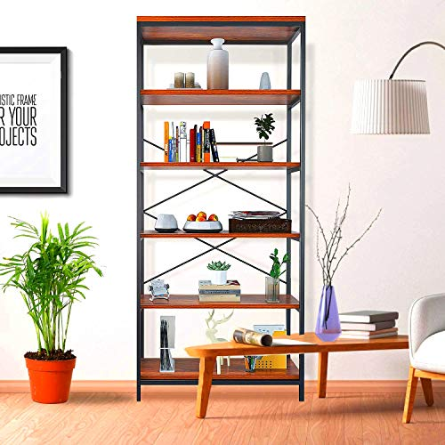 Himimi 5-Shelf Industrial Bookcase, Vintage Wood Open Storage Bookself...