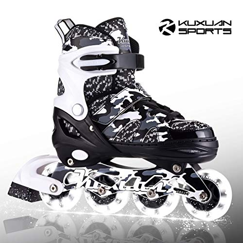 Kuxuan Boys and Girls Camo Adjustable Inline Skates with Light up...