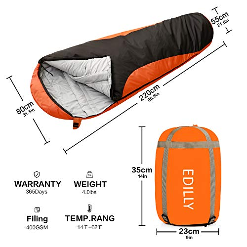 Mummy Sleeping Bag (Dark Gray & Red)