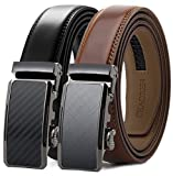 Chaoren Leather Ratchet Slide Belt 2 Pack with Click Buckle 1 1/4' in...