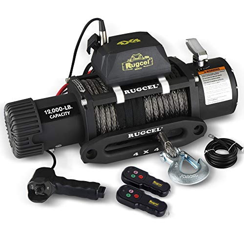 RUGCEL 12000lb Waterproof Electric Synthetic Rope Winch with Hawse...