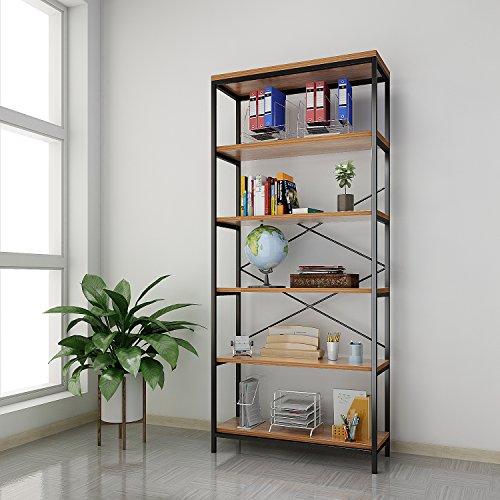 6 Tier Industrial Bookshelf, 71' Tall Steel Structure + Rustic Wood...