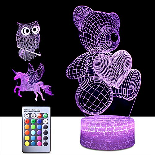 3D Night Light for Kids,3 in 1 Illusion Lamp for Home Decoration,3D...