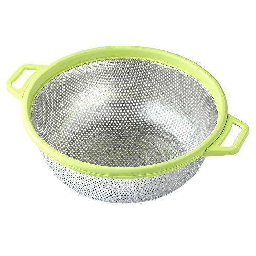 Stainless Steel Colander With Handle and Legs, Large Metal Green...