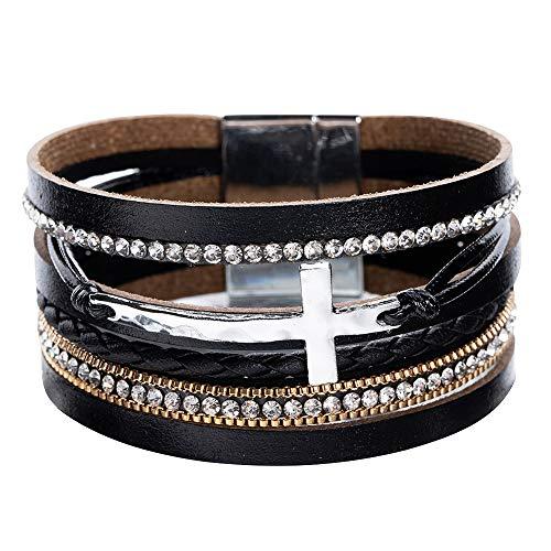 Women Cross Bracelets Jewelry - Leather Bracelet Bangle with Cross...