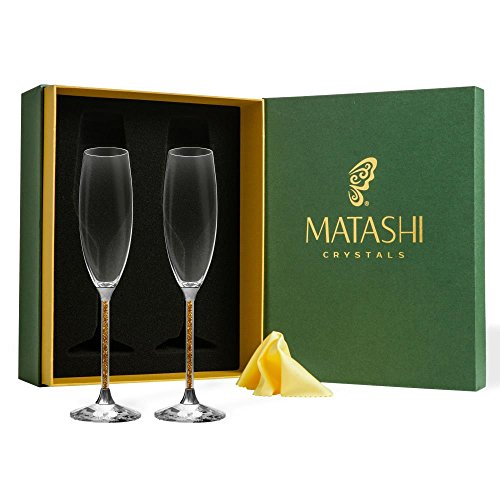 Classy Champagne Flutes with Sparkling Crystal Filled Long Stem, 8oz...