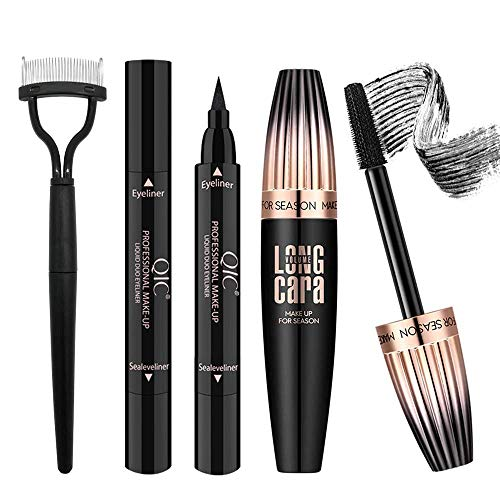 4D Silk Fiber Lash Mascara with Eyeliner Stamp & Folding Eyelash Comb,...