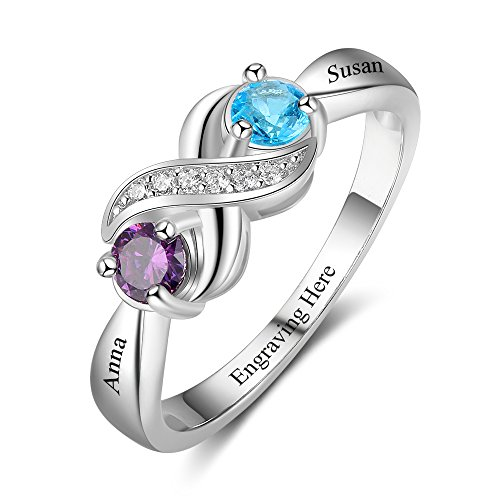 Love Jewelry Personalized Infinity Mothers Ring with 2 Round Simulated...