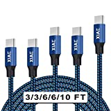 USB C Cable,XIAE 5Pack (3/3/6/6/10FT) Nylon Braided Fast Charging...