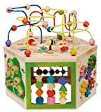 EverEarth Garden Activity Cube. Wood Shape & Color Sorter, Bead Maze &...