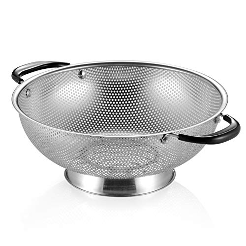 18/8 Stainless Steel Colander, Easy Grip Micro-Perforated 5-Quart...