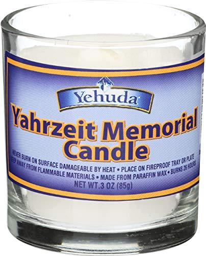 Yehuda, Yahrzeit Memorial Candle, Glass Tumbler (24 Pack) 24 Hour...