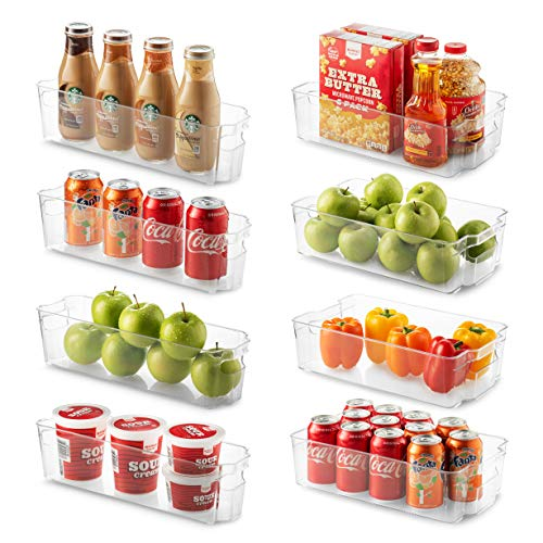 Set Of 8 Refrigerator Organizer Bins - 4 Large and 4 Small Stackable...