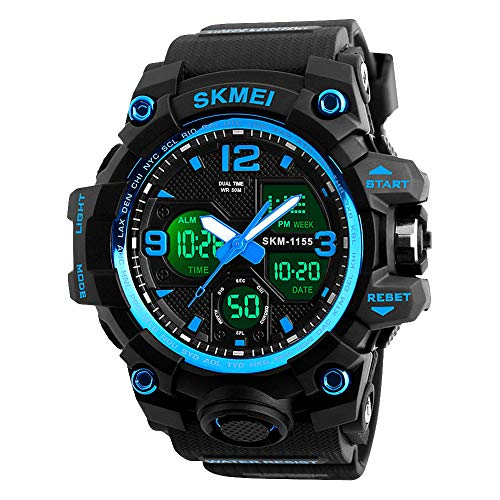 Analog Mens Digital Watch, Waterproof Military Watch with Dual Display...